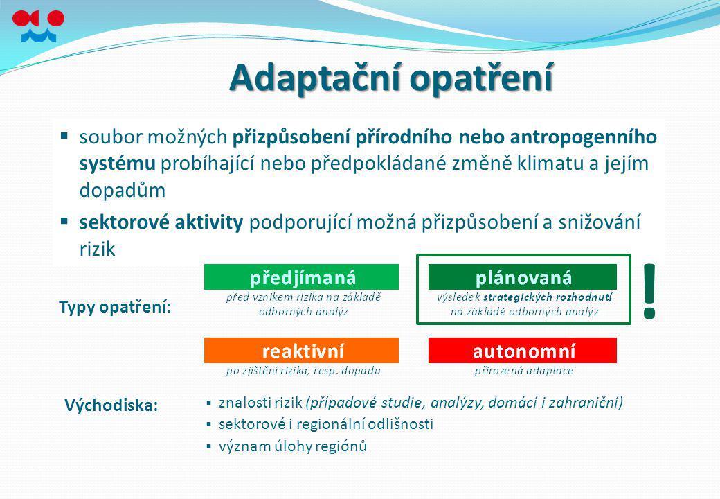 Adaptační opatření  soubor možných přizpůsobení přírodního nebo antropogenního systému probíhající nebo předpokládané změně klimatu a jejím dopadům 