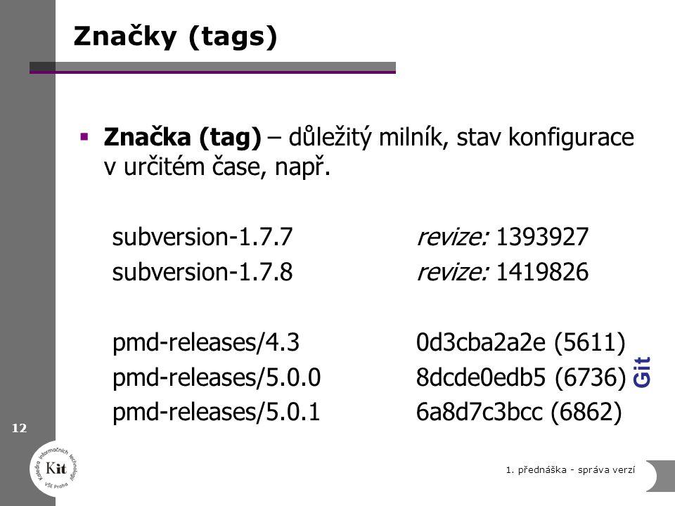 Značky (tags)  Značka (tag) – důležitý milník, stav konfigurace v určitém čase, např. subversion-1.7.7 revize: 1393927 subversion-1.7.8revize: 141982
