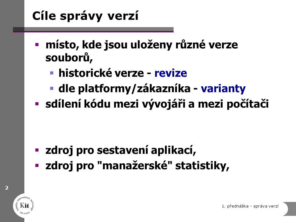 1. přednáška - správa verzí 2 Cíle správy verzí  místo, kde jsou uloženy různé verze souborů,  historické verze - revize  dle platformy/zákazníka -