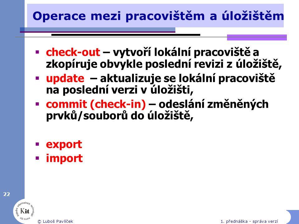 22 © Luboš Pavlíček1. přednáška - správa verzí Operace mezi pracovištěm a úložištěm  check-out – vytvoří lokální pracoviště a zkopíruje obvykle posle