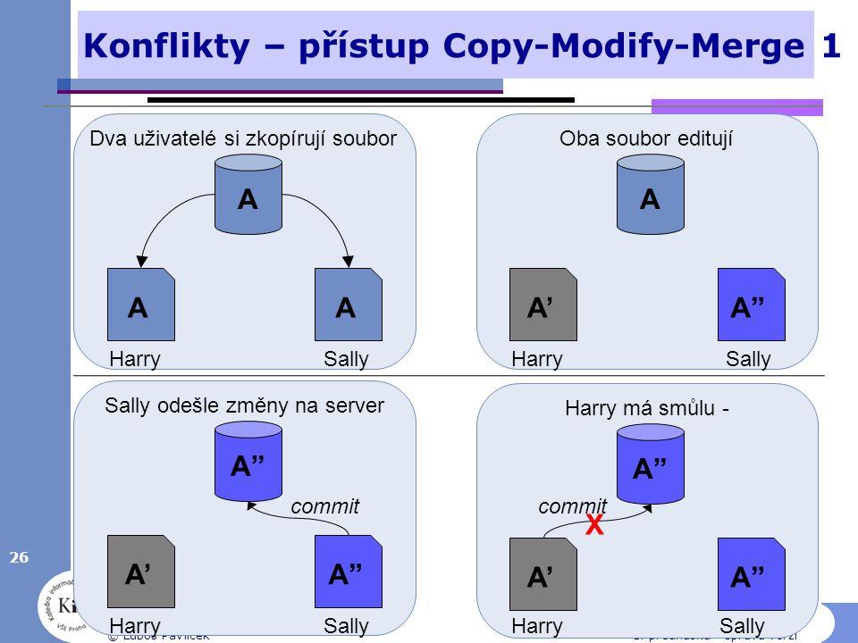 """Konflikty – přístup Copy-Modify-Merge 1 26 © Luboš Pavlíček1. přednáška - správa verzí A AA HarrySally Dva uživatelé si zkopírují soubor A A'A'A""""A"""" Ha"""