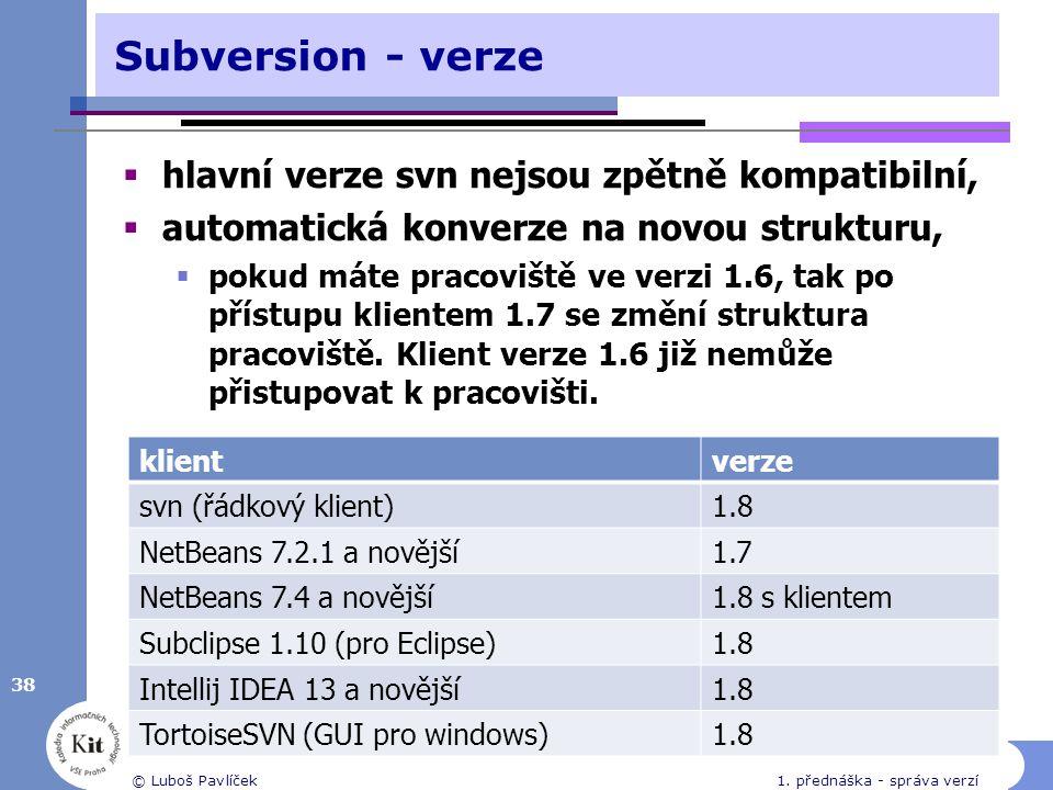 Subversion - verze  hlavní verze svn nejsou zpětně kompatibilní,  automatická konverze na novou strukturu,  pokud máte pracoviště ve verzi 1.6, tak