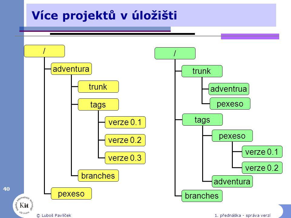 40 © Luboš Pavlíček1. přednáška - správa verzí Více projektů v úložišti / adventura pexeso trunk tags branches verze 0.1 verze 0.2 verze 0.3 / trunk b