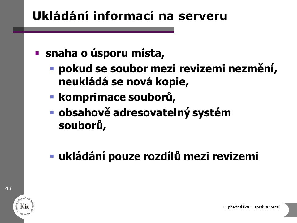 Ukládání informací na serveru  snaha o úsporu místa,  pokud se soubor mezi revizemi nezmění, neukládá se nová kopie,  komprimace souborů,  obsahov