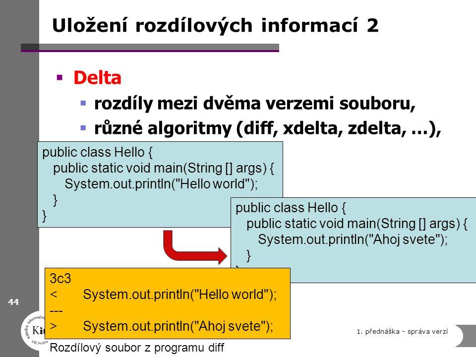 Uložení rozdílových informací 2  Delta  rozdíly mezi dvěma verzemi souboru,  různé algoritmy (diff, xdelta, zdelta, …), 1. přednáška - správa verzí