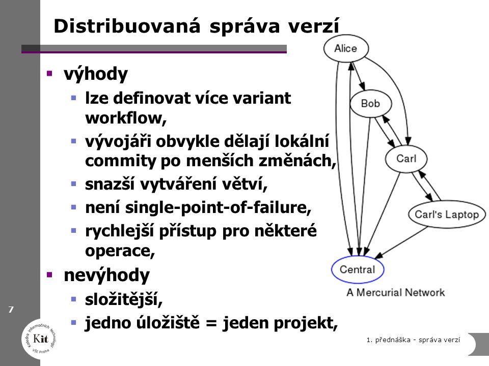 Distribuovaná správa verzí  výhody  lze definovat více variant workflow,  vývojáři obvykle dělají lokální commity po menších změnách,  snazší vytv