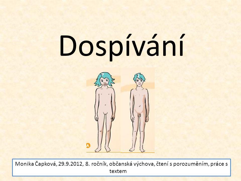 Dospívání Monika Čapková, 29.9.2012, 8. ročník, občanská výchova, čtení s porozuměním, práce s textem