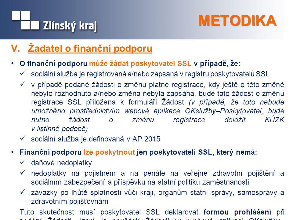 METODIKA V. Žadatel o finanční podporu O finanční podporu může žádat poskytovatel SSL v případě, že: sociální služba je registrovaná a/nebo zapsaná v