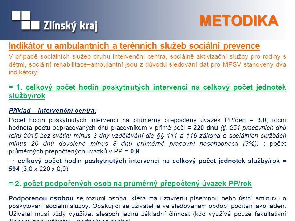 METODIKA Indikátor u ambulantních a terénních služeb sociální prevence V případě sociálních služeb druhu intervenční centra, sociálně aktivizační služ