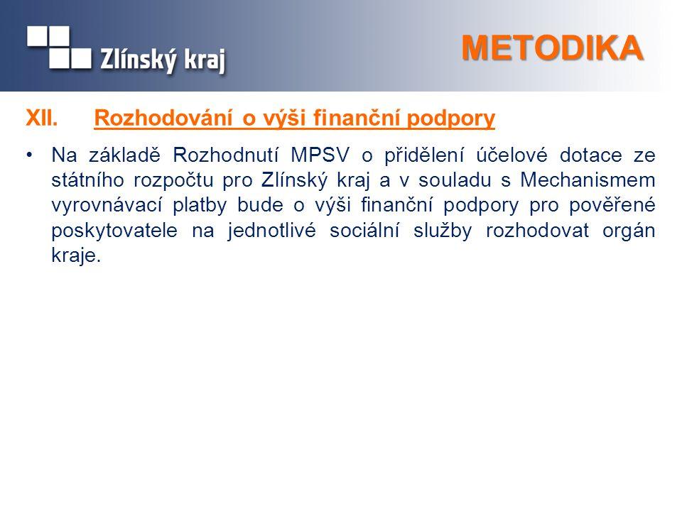 METODIKA XII. Rozhodování o výši finanční podpory Na základě Rozhodnutí MPSV o přidělení účelové dotace ze státního rozpočtu pro Zlínský kraj a v soul