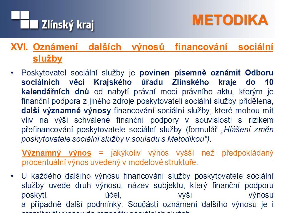 METODIKA XVI.Oznámení dalších výnosů financování sociální služby Poskytovatel sociální služby je povinen písemně oznámit Odboru sociálních věcí Krajsk
