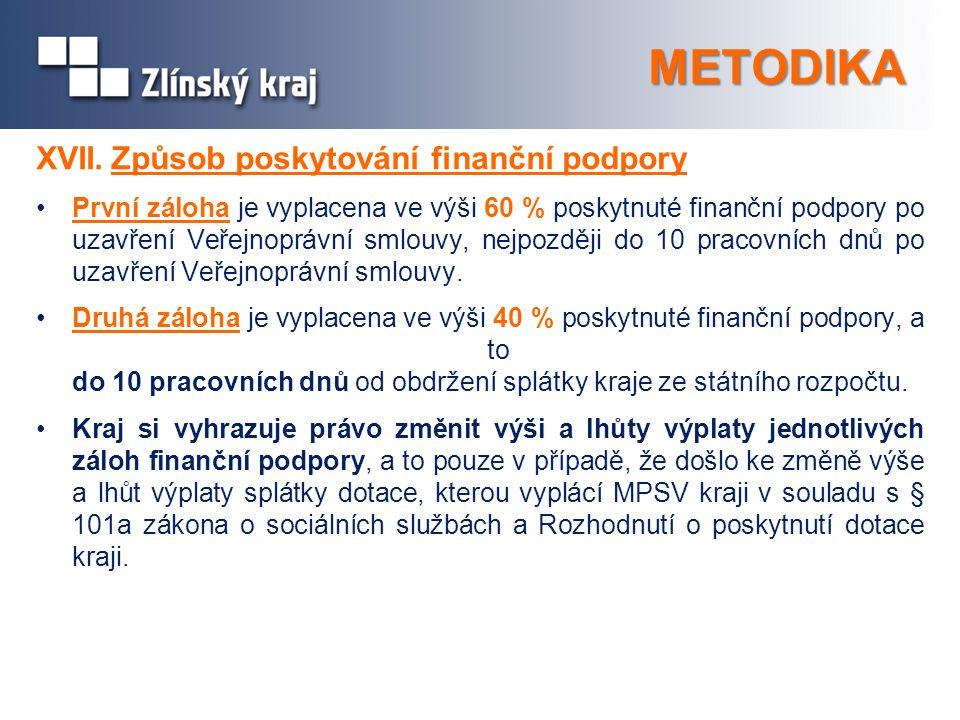 METODIKA XVII.Způsob poskytování finanční podpory První záloha je vyplacena ve výši 60 % poskytnuté finanční podpory po uzavření Veřejnoprávní smlouvy