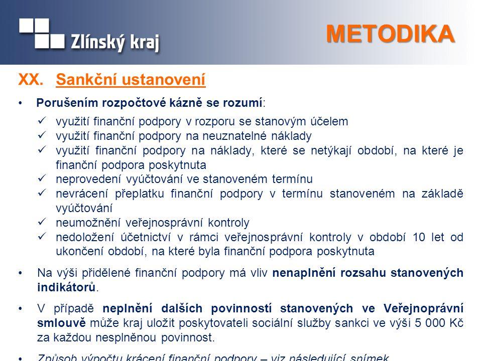 METODIKA XX.Sankční ustanovení Porušením rozpočtové kázně se rozumí: využití finanční podpory v rozporu se stanovým účelem využití finanční podpory na