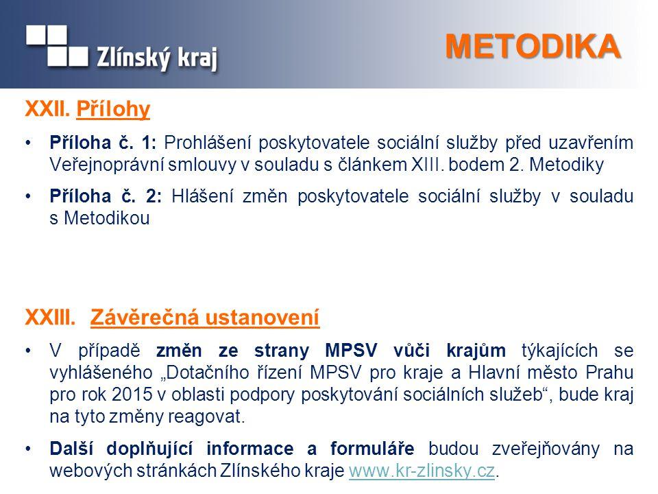 METODIKA XXII.Přílohy Příloha č. 1: Prohlášení poskytovatele sociální služby před uzavřením Veřejnoprávní smlouvy v souladu s článkem XIII. bodem 2. M