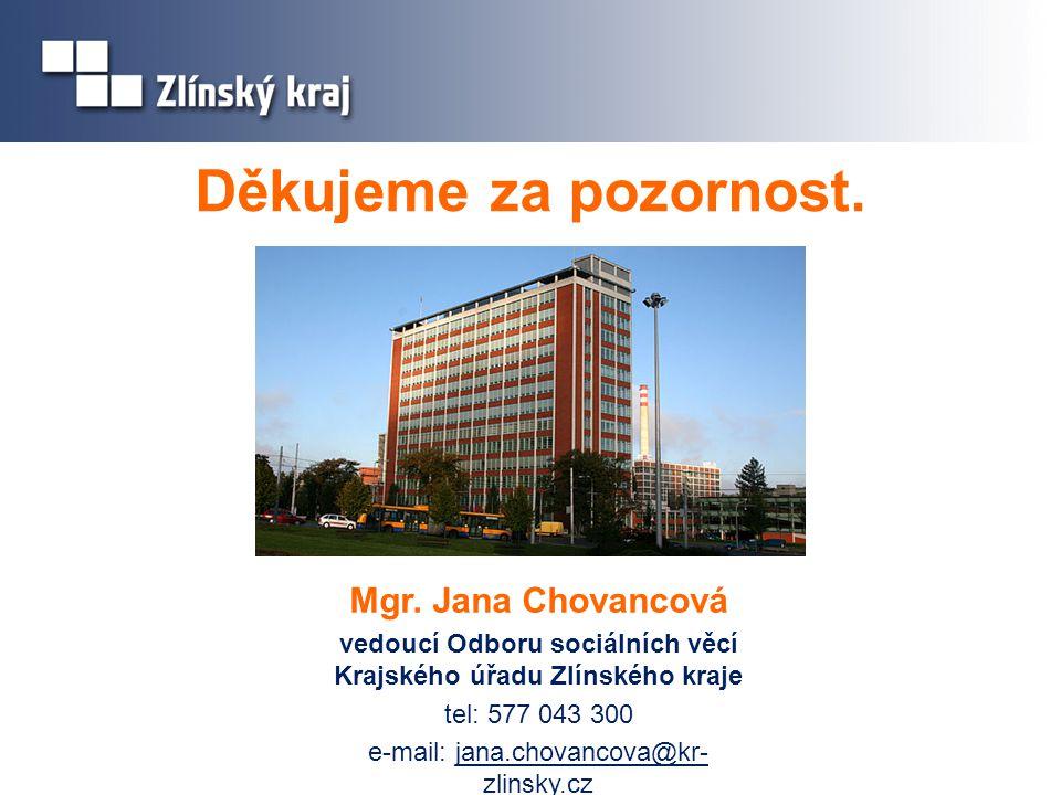 Děkujeme za pozornost. Mgr. Jana Chovancová vedoucí Odboru sociálních věcí Krajského úřadu Zlínského kraje tel: 577 043 300 e-mail: jana.chovancova@kr