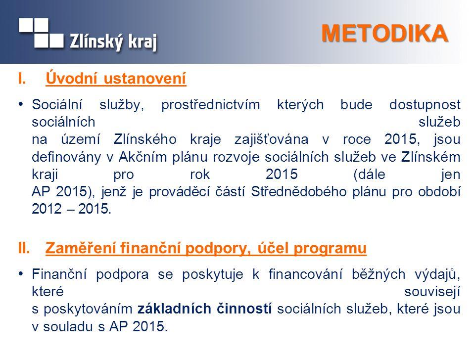 METODIKA I. Úvodní ustanovení Sociální služby, prostřednictvím kterých bude dostupnost sociálních služeb na území Zlínského kraje zajišťována v roce 2