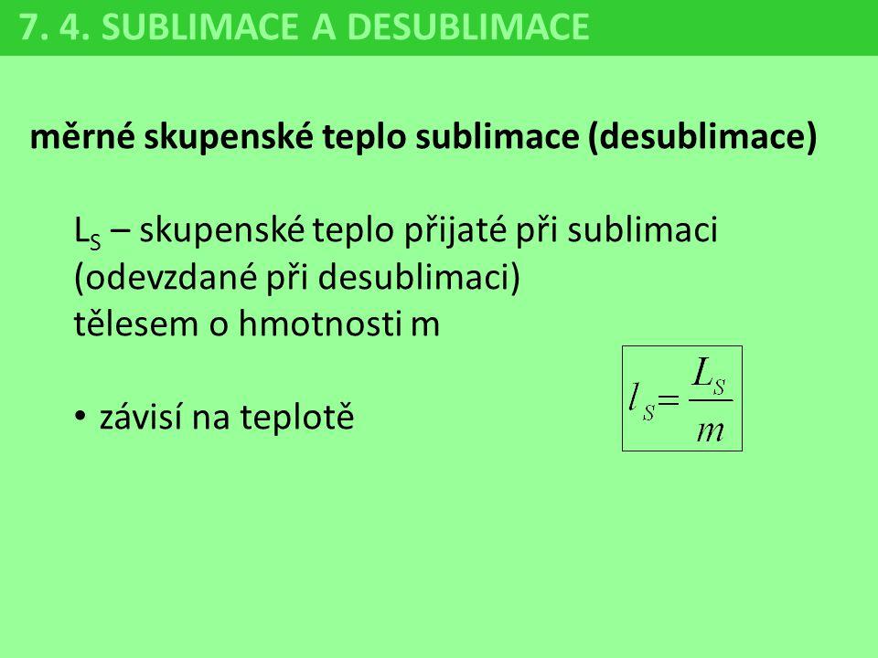 měrné skupenské teplo sublimace (desublimace) L S – skupenské teplo přijaté při sublimaci (odevzdané při desublimaci) tělesem o hmotnosti m závisí na