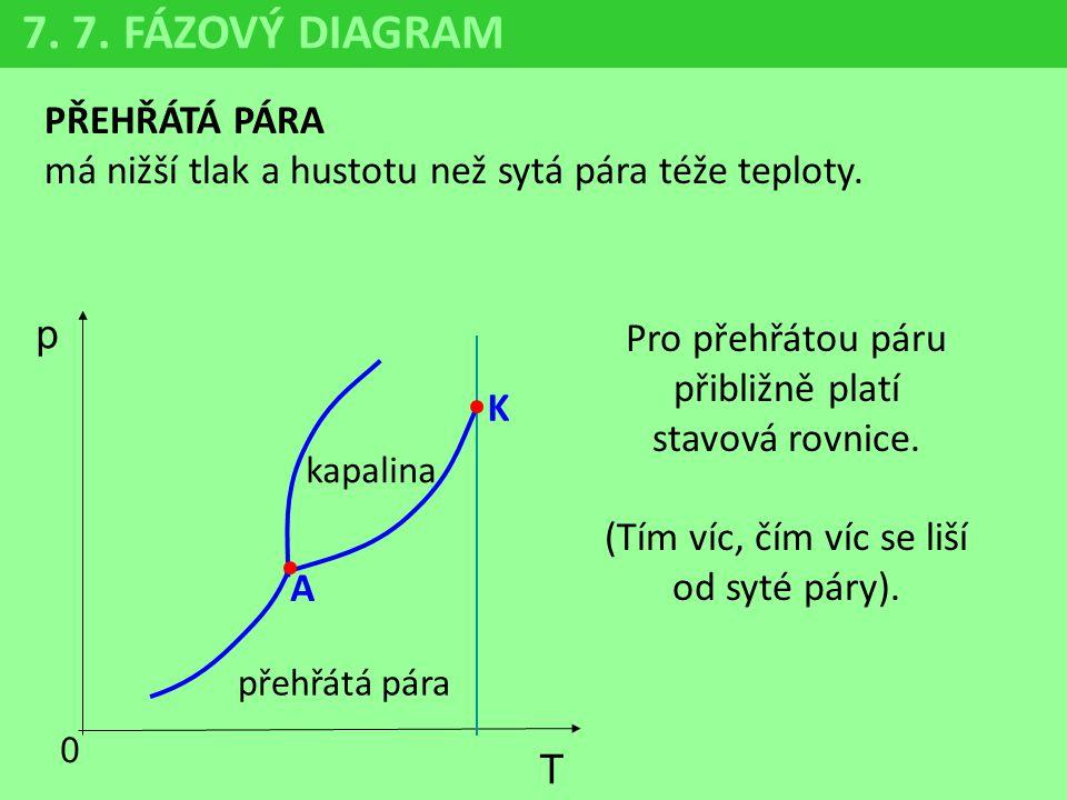 PŘEHŘÁTÁ PÁRA má nižší tlak a hustotu než sytá pára téže teploty. Pro přehřátou páru přibližně platí stavová rovnice. (Tím víc, čím víc se liší od syt