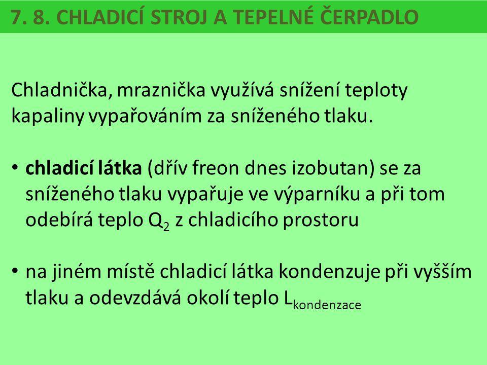 7. 8. CHLADICÍ STROJ A TEPELNÉ ČERPADLO Chladnička, mraznička využívá snížení teploty kapaliny vypařováním za sníženého tlaku. chladicí látka (dřív fr