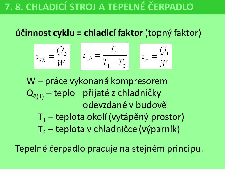 7. 8. CHLADICÍ STROJ A TEPELNÉ ČERPADLO účinnost cyklu = chladicí faktor (topný faktor) W – práce vykonaná kompresorem Q 2(1) – teplo přijaté z chladn