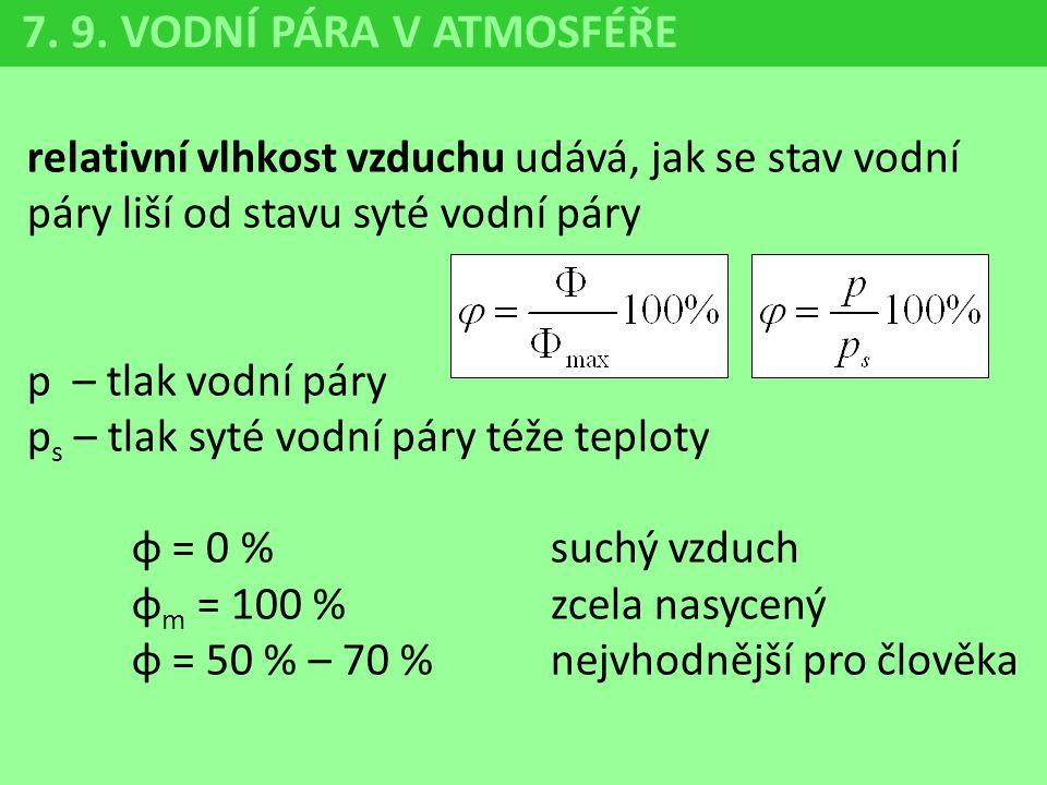 relativní vlhkost vzduchu udává, jak se stav vodní páry liší od stavu syté vodní páry p – tlak vodní páry p s – tlak syté vodní páry téže teploty φ =