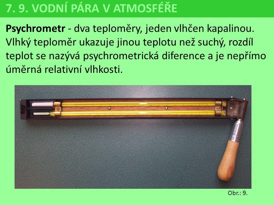 Psychrometr - dva teploměry, jeden vlhčen kapalinou. Vlhký teploměr ukazuje jinou teplotu než suchý, rozdíl teplot se nazývá psychrometrická diference
