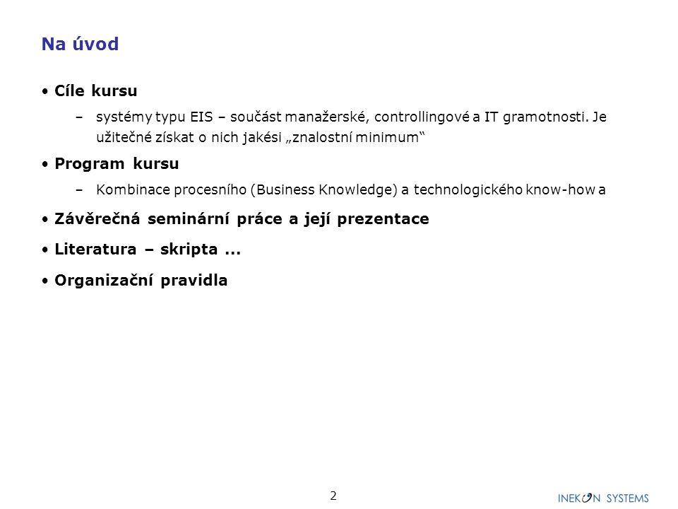 3 Program kursu – tématické bloky 1.Úvodní blok 2.Datové modelování 3.Praktická práce se systémem (1) 4.Procesní modelování 5.Praktická práce se systémem (2) 6.Balanced Scorecard 7.Praktická práce se systémem (3) 8.Prezentace seminárních prací.
