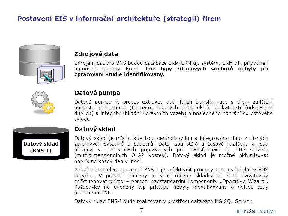 77 Datový sklad Datový sklad je místo, kde jsou centralizována a integrována data z různých zdrojových systémů a souborů.