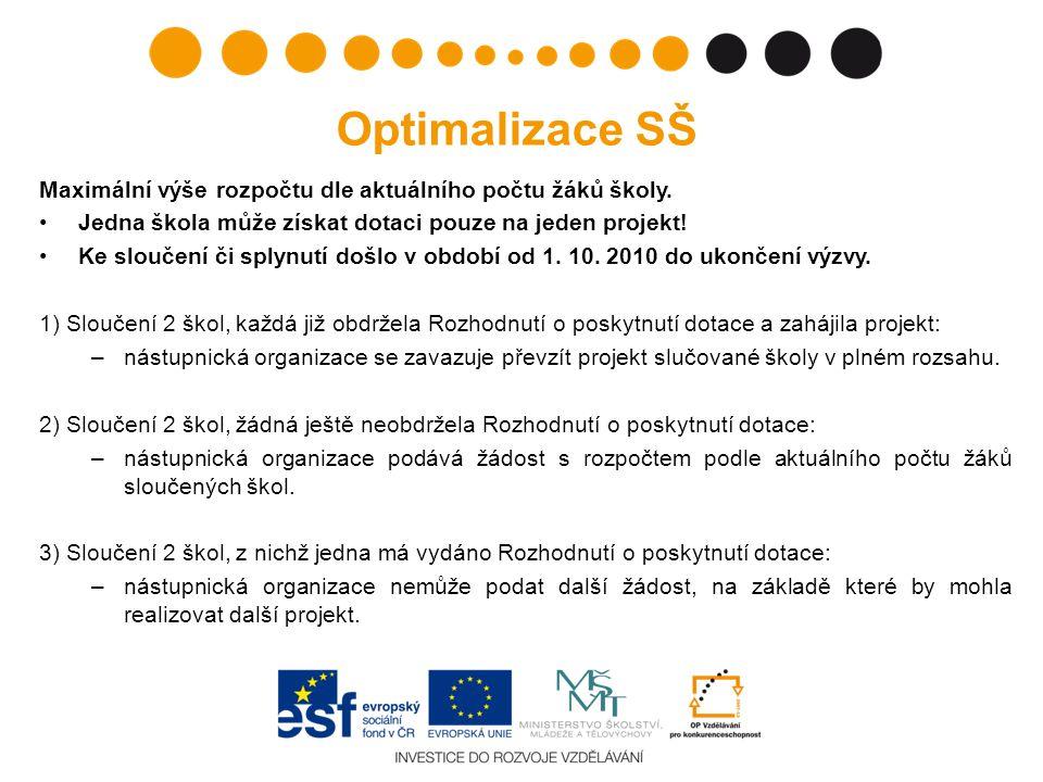 Optimalizace SŠ Maximální výše rozpočtu dle aktuálního počtu žáků školy.