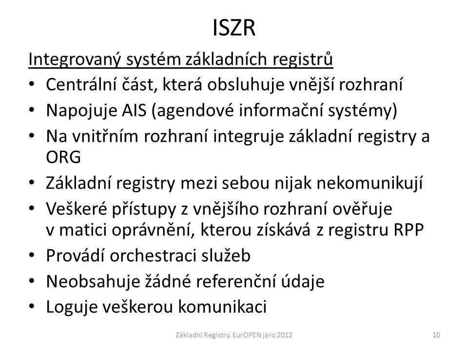 ISZR Integrovaný systém základních registrů Centrální část, která obsluhuje vnější rozhraní Napojuje AIS (agendové informační systémy) Na vnitřním roz