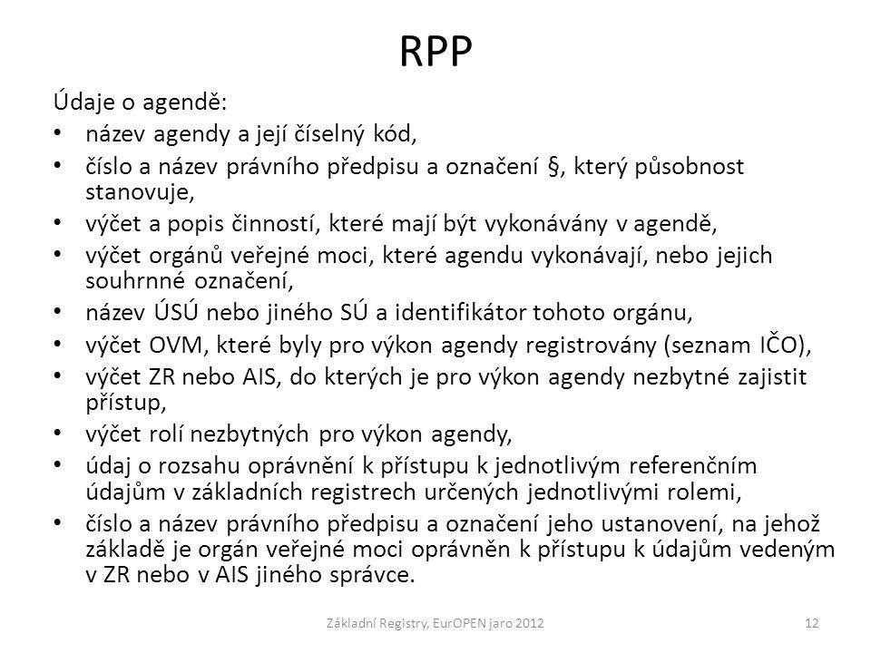 RPP Údaje o agendě: název agendy a její číselný kód, číslo a název právního předpisu a označení §, který působnost stanovuje, výčet a popis činností,