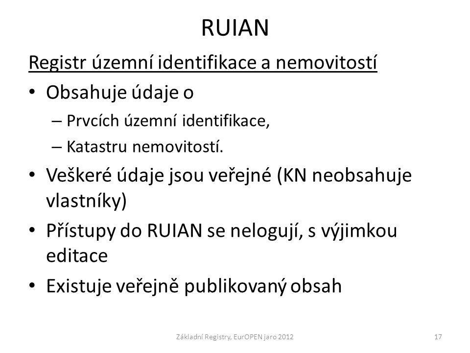 RUIAN Registr územní identifikace a nemovitostí Obsahuje údaje o – Prvcích územní identifikace, – Katastru nemovitostí. Veškeré údaje jsou veřejné (KN