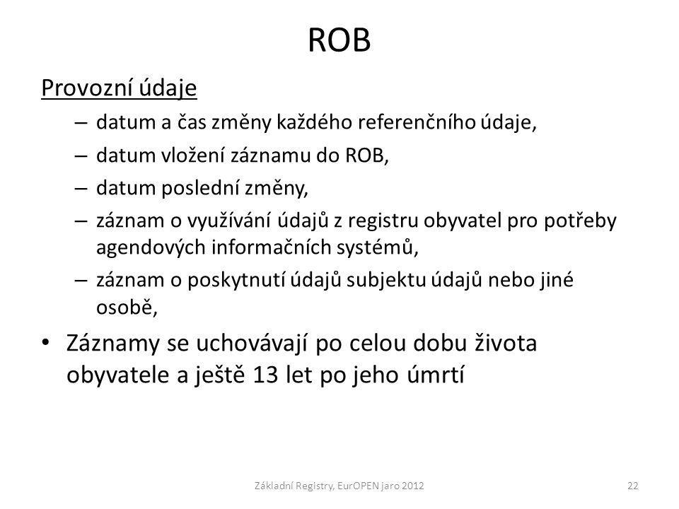 ROB Provozní údaje – datum a čas změny každého referenčního údaje, – datum vložení záznamu do ROB, – datum poslední změny, – záznam o využívání údajů
