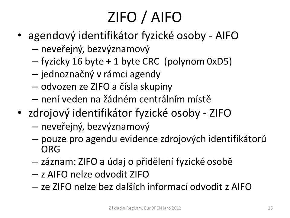 ZIFO / AIFO agendový identifikátor fyzické osoby - AIFO – neveřejný, bezvýznamový – fyzicky 16 byte + 1 byte CRC (polynom 0xD5) – jednoznačný v rámci