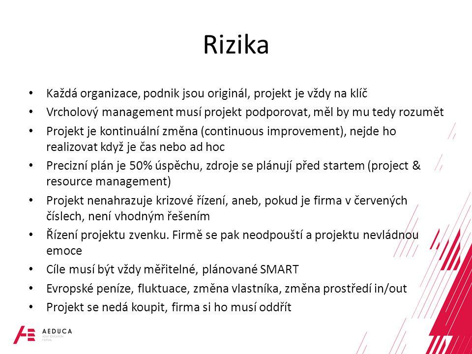 Rizika Každá organizace, podnik jsou originál, projekt je vždy na klíč Vrcholový management musí projekt podporovat, měl by mu tedy rozumět Projekt je