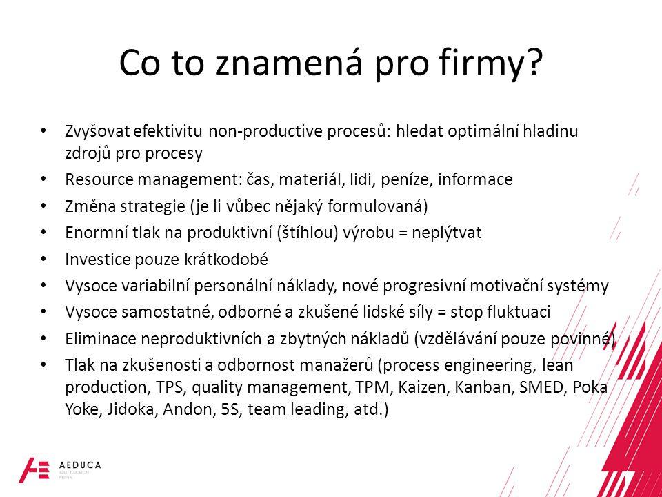 Co to znamená pro firmy? Zvyšovat efektivitu non-productive procesů: hledat optimální hladinu zdrojů pro procesy Resource management: čas, materiál, l