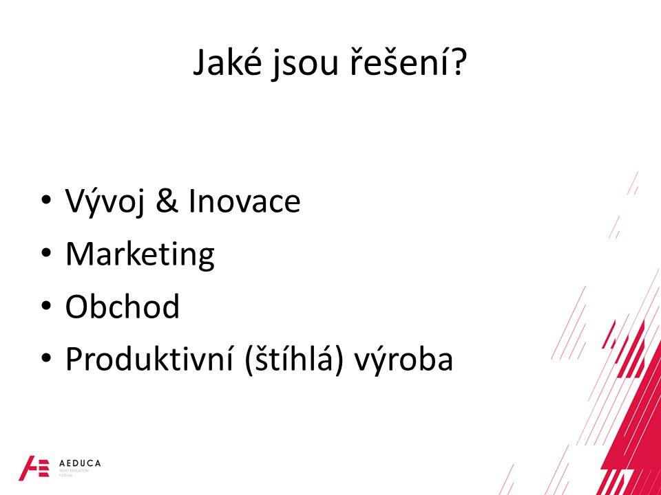 Jaké jsou řešení? Vývoj & Inovace Marketing Obchod Produktivní (štíhlá) výroba