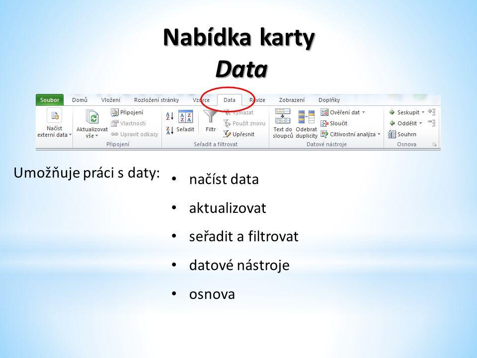 Nabídka karty Data Data Umožňuje práci s daty: načíst data aktualizovat seřadit a filtrovat datové nástroje osnova