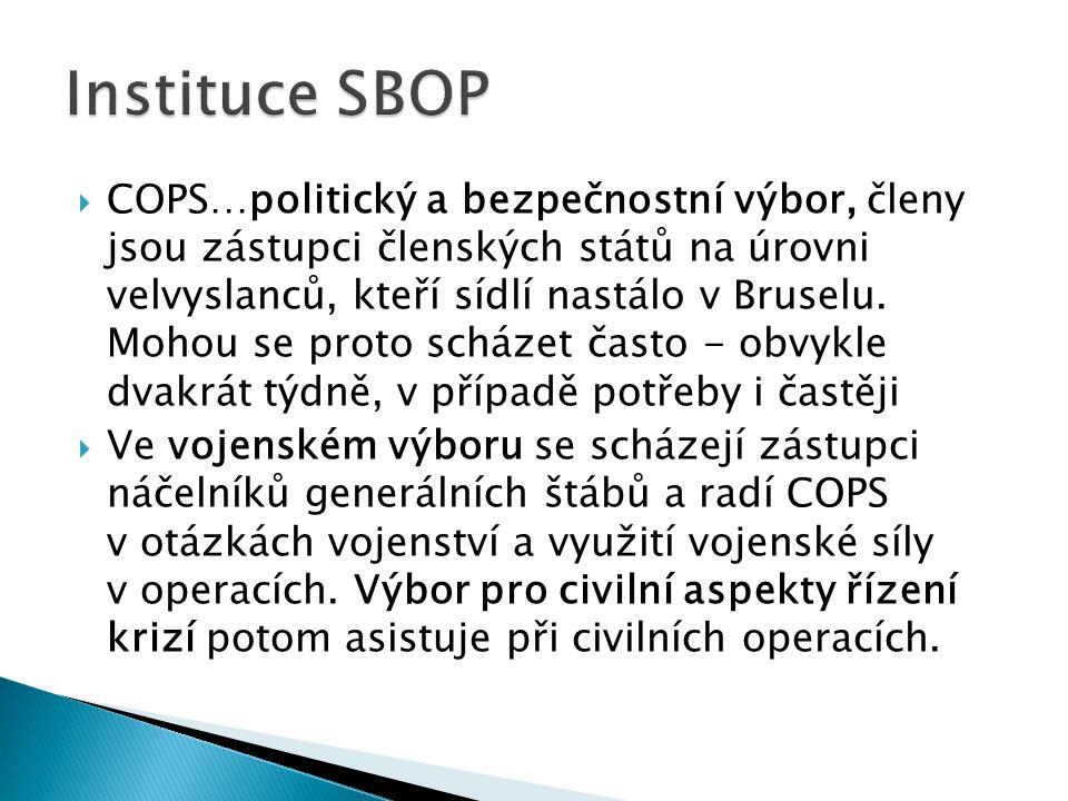  COPS…politický a bezpečnostní výbor, členy jsou zástupci členských států na úrovni velvyslanců, kteří sídlí nastálo v Bruselu. Mohou se proto scháze