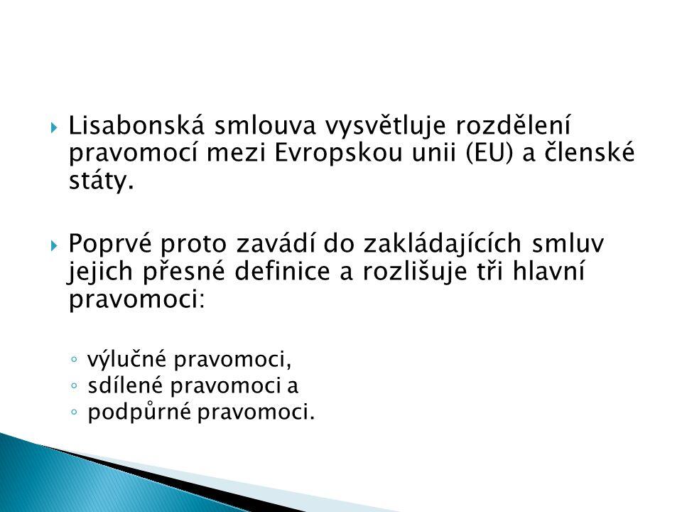  Lisabonská smlouva vysvětluje rozdělení pravomocí mezi Evropskou unii (EU) a členské státy.  Poprvé proto zavádí do zakládajících smluv jejich přes