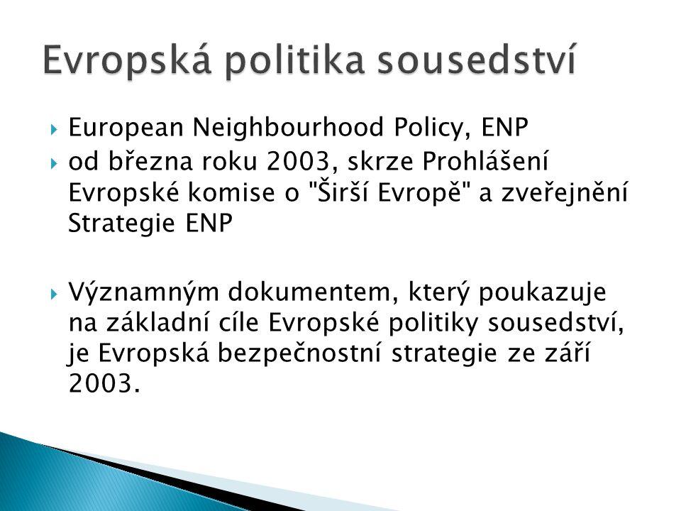 European Neighbourhood Policy, ENP  od března roku 2003, skrze Prohlášení Evropské komise o