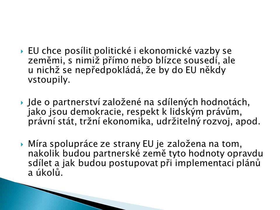  EU chce posílit politické i ekonomické vazby se zeměmi, s nimiž přímo nebo blízce sousedí, ale u nichž se nepředpokládá, že by do EU někdy vstoupily