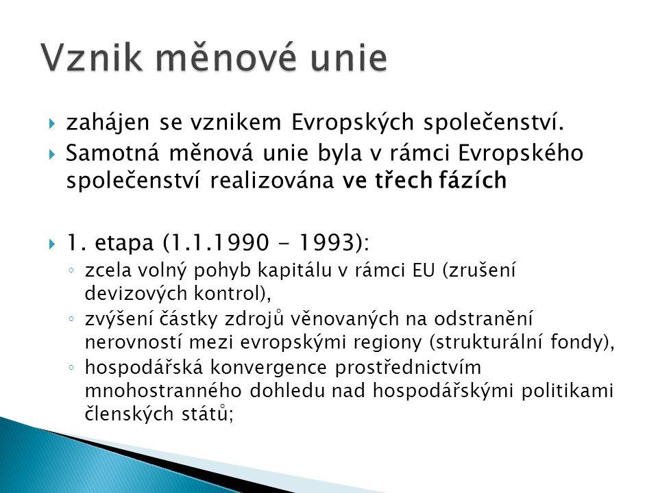  zahájen se vznikem Evropských společenství.  Samotná měnová unie byla v rámci Evropského společenství realizována ve třech fázích  1. etapa (1.1.1