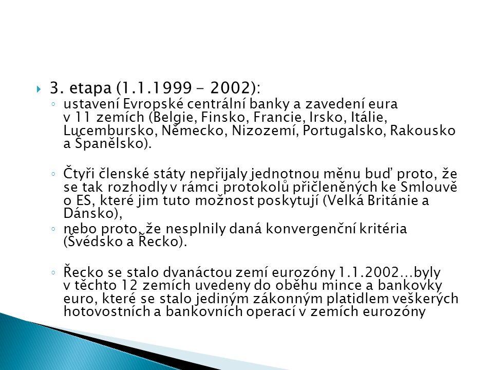  3. etapa (1.1.1999 - 2002): ◦ ustavení Evropské centrální banky a zavedení eura v 11 zemích (Belgie, Finsko, Francie, Irsko, Itálie, Lucembursko, Ně