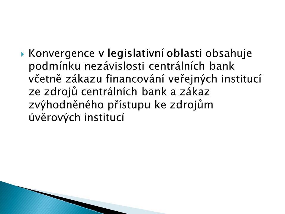  Konvergence v legislativní oblasti obsahuje podmínku nezávislosti centrálních bank včetně zákazu financování veřejných institucí ze zdrojů centrální