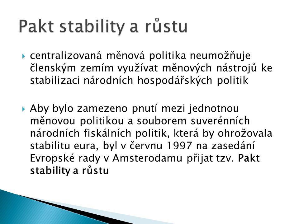  centralizovaná měnová politika neumožňuje členským zemím využívat měnových nástrojů ke stabilizaci národních hospodářských politik  Aby bylo zameze