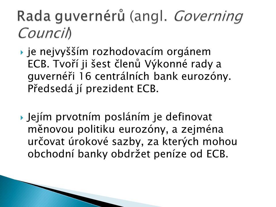  je nejvyšším rozhodovacím orgánem ECB. Tvoří ji šest členů Výkonné rady a guvernéři 16 centrálních bank eurozóny. Předsedá jí prezident ECB.  Jejím