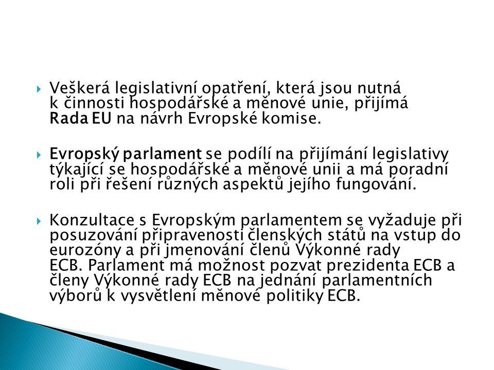  Veškerá legislativní opatření, která jsou nutná k činnosti hospodářské a měnové unie, přijímá Rada EU na návrh Evropské komise.  Evropský parlament