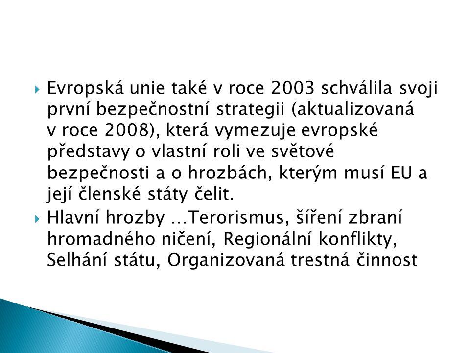 Evropská unie také v roce 2003 schválila svoji první bezpečnostní strategii (aktualizovaná v roce 2008), která vymezuje evropské představy o vlastní
