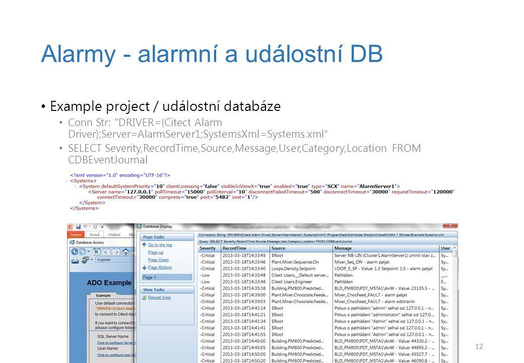 Example project / událostní databáze Conn Str: DRIVER={Citect Alarm Driver};Server=AlarmServer1;SystemsXml=Systems.xml SELECT Severity,RecordTime,Source,Message,User,Category,Location FROM CDBEventJournal Alarmy - alarmní a událostní DB 12
